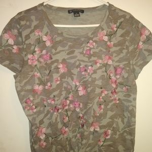 INC oncepts Camo w/ vembroidery flowers.  Women's